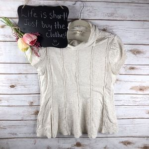 Anthropologie Little Yellow Button cowl neck top